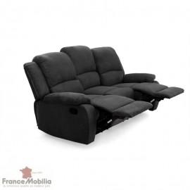 Canapé relax 3 places en microfibre noir