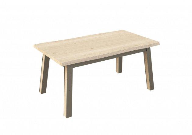 Table-a-rallonges-intégrées-en-chêne-et-métal-160Cm