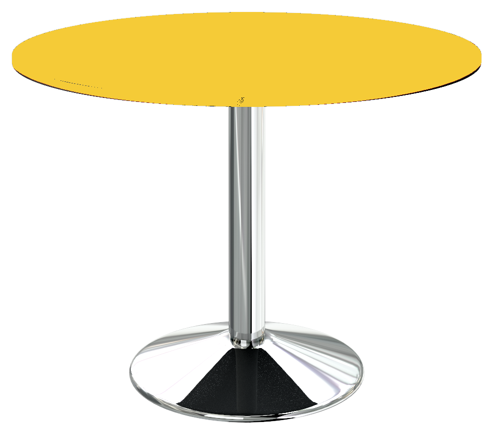 Table ronde pied central chrome